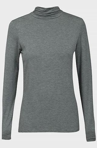 Блуза с поло яка в сив десен