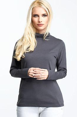 Блуза с поло яка в тъмно сив десен