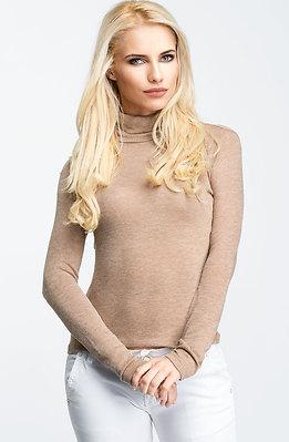 Блуза с поло яка в бежев десен