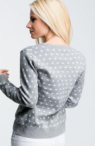 Памучна блуза от плетиво в сиво