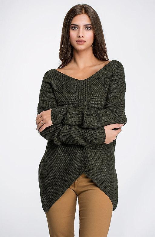 Плетена блуза в тъмно зелено