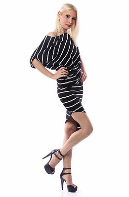 Асиметрична рокля райе