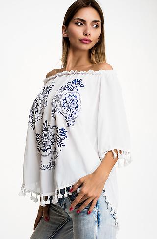 Блуза от вискоза с ресни