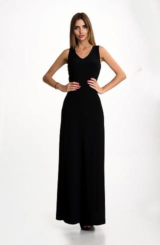 Елегантна дълга рокля в черно