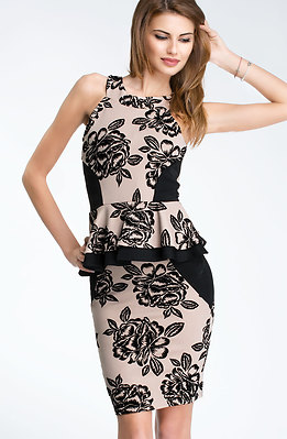 Стилна рокля без ръкав в бежев десен
