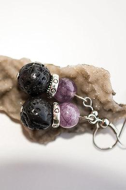 Обеци от виолетов ахат и вулканичен камък