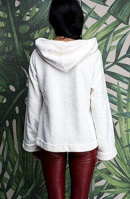 Суичър с качулка в бяло