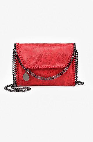Коктейлна мини чанта в червено