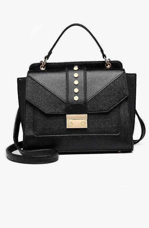 Дамска чанта тип куфарче в черен десен
