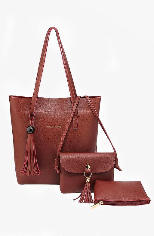 Дамска чанта Трио в цвят бургунди