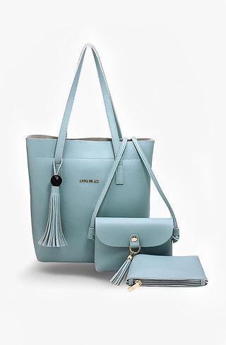Дамска чанта Трио в небесно синьо