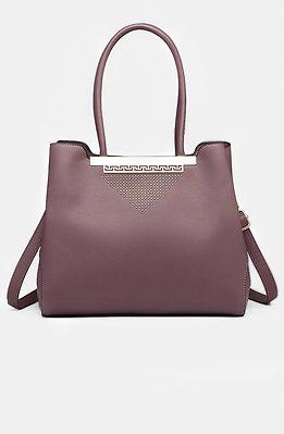 Дамска чанта с орнамент в лилаво