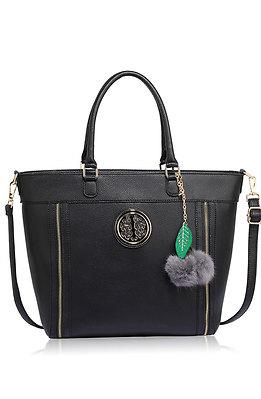 Дамска чанта с аксесоар в черно