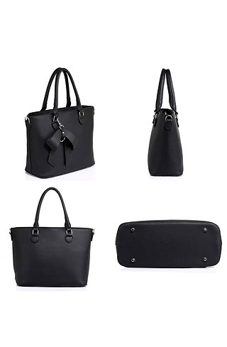 Дамска чанта с панделка в черно