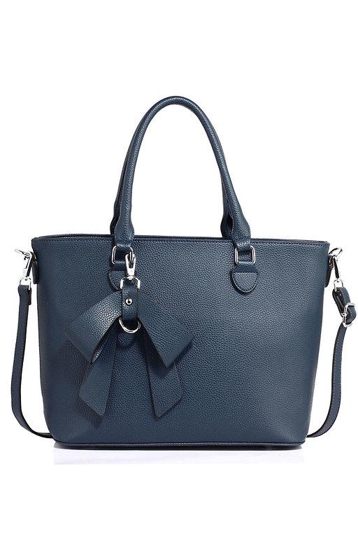 Дамска чанта с панделка в тъмно синьо