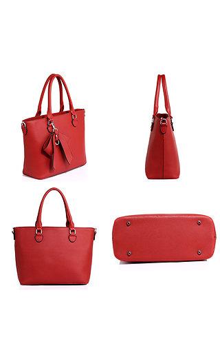 Дамска чанта с панделка в тъмно червено