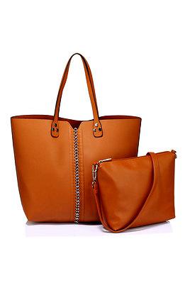 Дамска чанта за рамо в кафяво