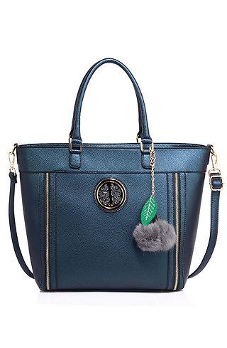 Дамска чанта с аксесоар в синьо
