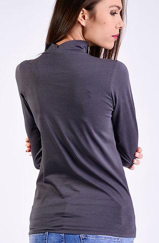Поло блуза в тъмно сив десен