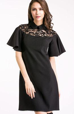 Разкроена рокля с якичка в черно
