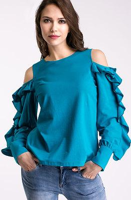 Блуза с голо рамо и ефектни ръкави в синьо
