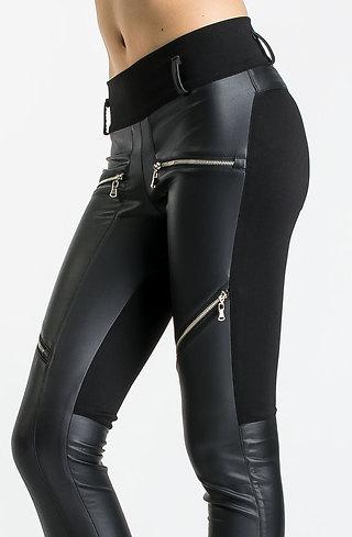 Кожен панталон тип клин с ципове