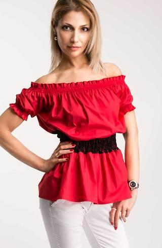 Риза с къс ръкав в червено