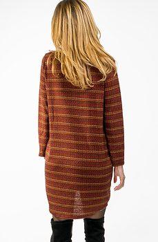 Рокля от плетиво в цвят керемида