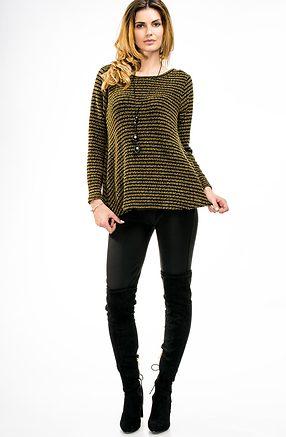 Блуза от плетиво в цвят горчица