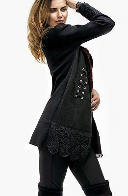 Плътна жилетка от плетиво и велур в черно