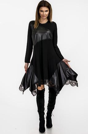 Екстравагантна асиметрична туника от черно плетиво