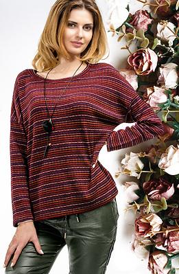 Блуза от плетиво в цвят бордо