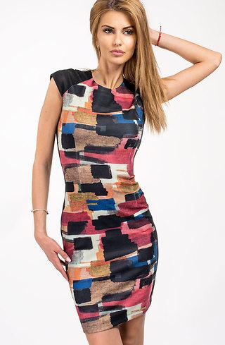 Цветна памучна рокля с къс ръкав
