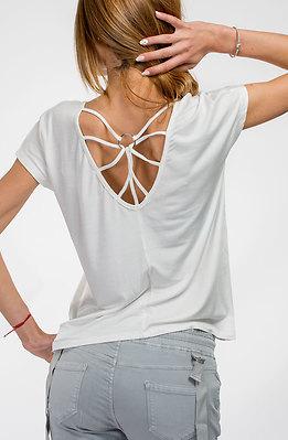 Памучна блуза с халка в бяло