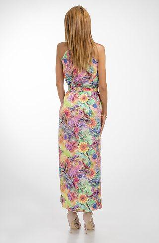 Дълга цветна рокля с тънки презрамки