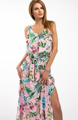 Дълга рокля на цветя в розово