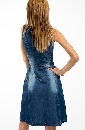 Разкроена дънкова рокля без ръкав