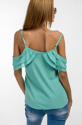 Блуза с презрамки и паднало рамо в цвят резеда