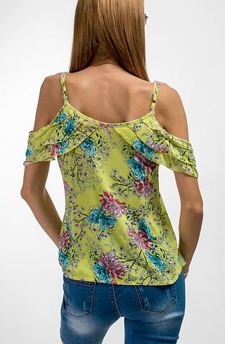 Блуза с презрамки и паднало рамо в жълто