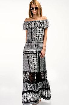 Дълга лятна рокля с паднали рамене