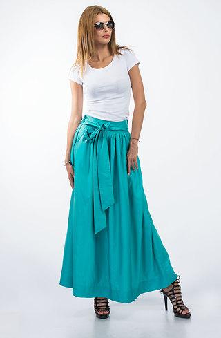 Дълга пола с висока талия в цвят резеда