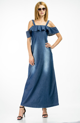 Дълга разкроена рокля от летен деним