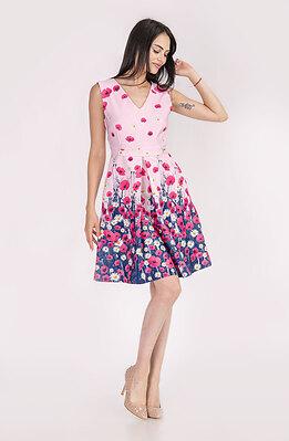 Стилна рокля без ръкави в розово