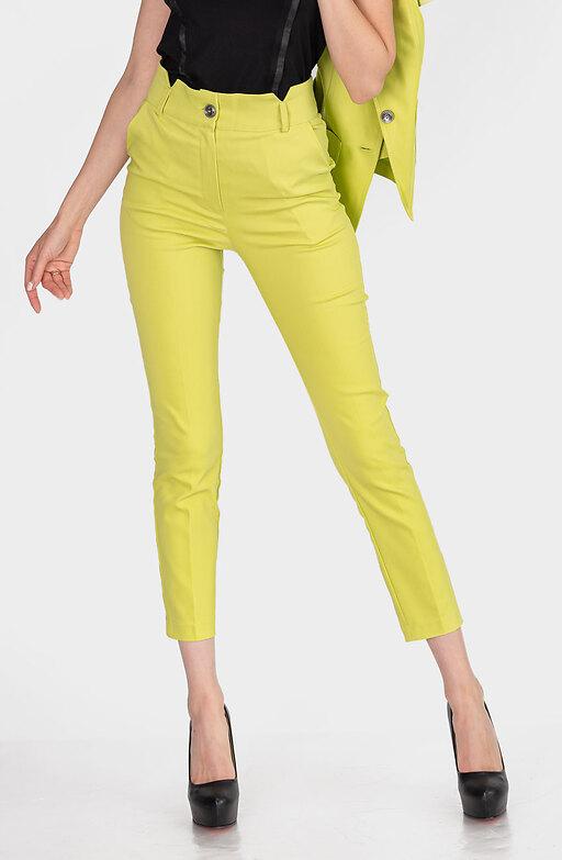 Стилен панталон с висока талия в цвят лайм