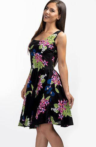 Разкроена рокля тип бюстие в черно