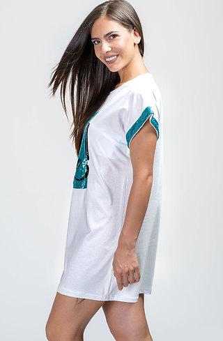 Памучна туника-рокля с пайети