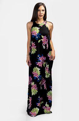 Дълга флорална рокля с кръстосани презрамки