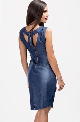 Къса разкроена рокля от летен деним