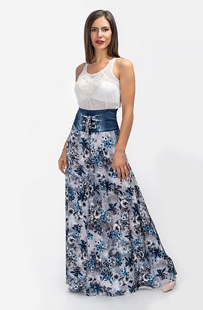 Дълга разкроена пола с висока талия на сини цветя