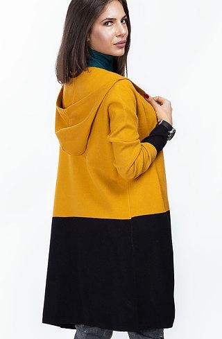 Двуцветна жилетка с качулка